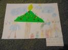 szívószálból készült karácsonyfa, rajzkombináció
